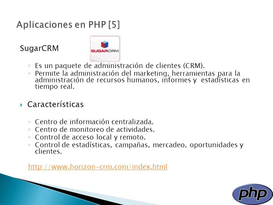 SugarCRM Es un paquete de administración de clientes (CRM). Permite la administración del marketing, herramientas para la administración de recursos h