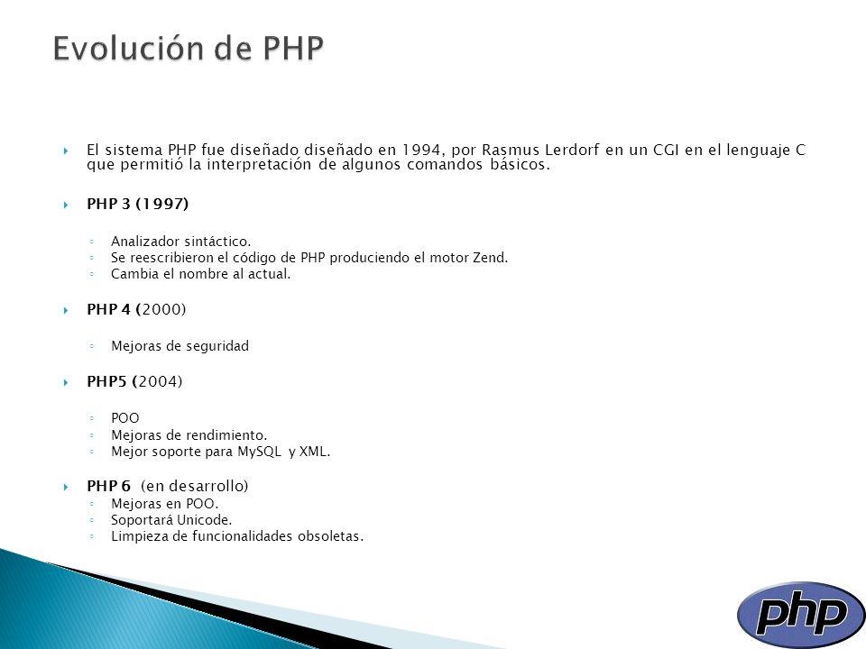 El sistema PHP fue diseñado diseñado en 1994, por Rasmus Lerdorf en un CGI en el lenguaje C que permitió la interpretación de algunos comandos básicos
