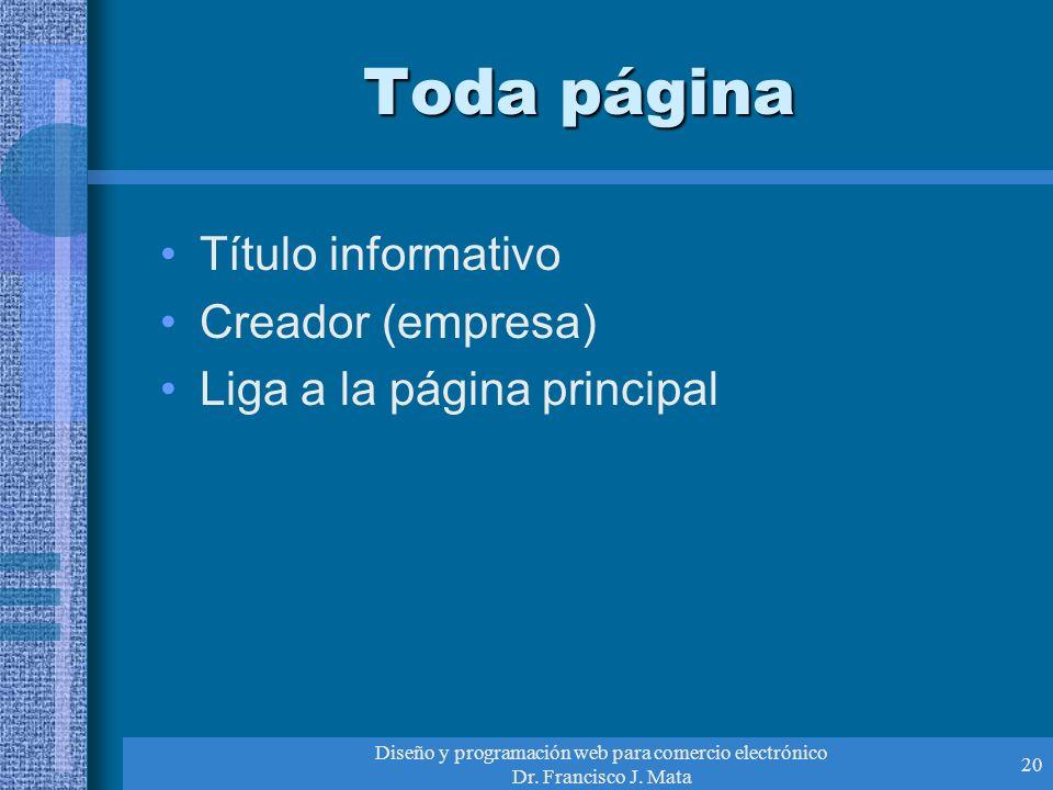 Diseño y programación web para comercio electrónico Dr. Francisco J. Mata 20 Toda página Título informativo Creador (empresa) Liga a la página princip