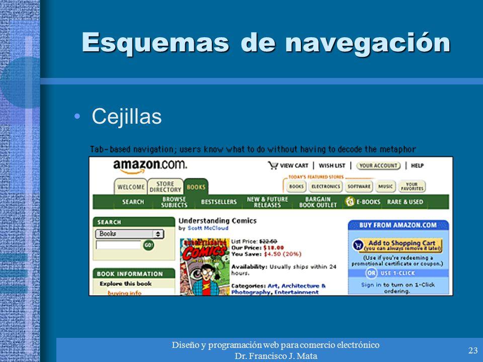 Diseño y programación web para comercio electrónico Dr. Francisco J. Mata 23 Esquemas de navegación Cejillas