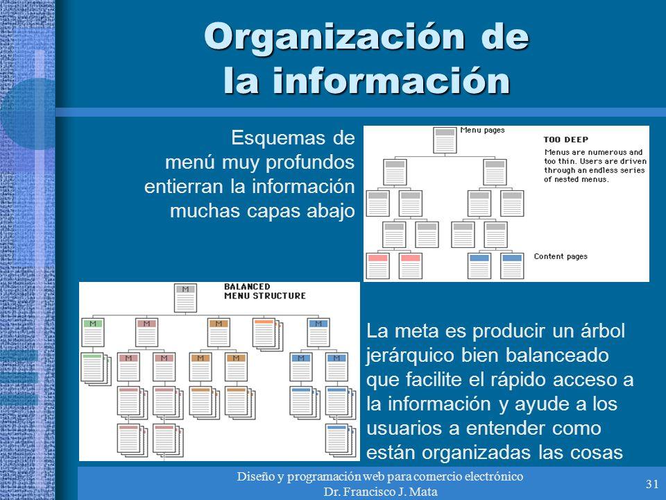 Diseño y programación web para comercio electrónico Dr. Francisco J. Mata 31 Organización de la información Esquemas de menú muy profundos entierran l