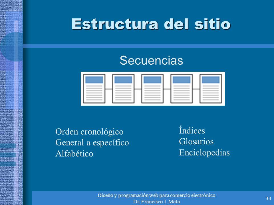 Diseño y programación web para comercio electrónico Dr. Francisco J. Mata 33 Estructura del sitio Secuencias Orden cronológico General a específico Al