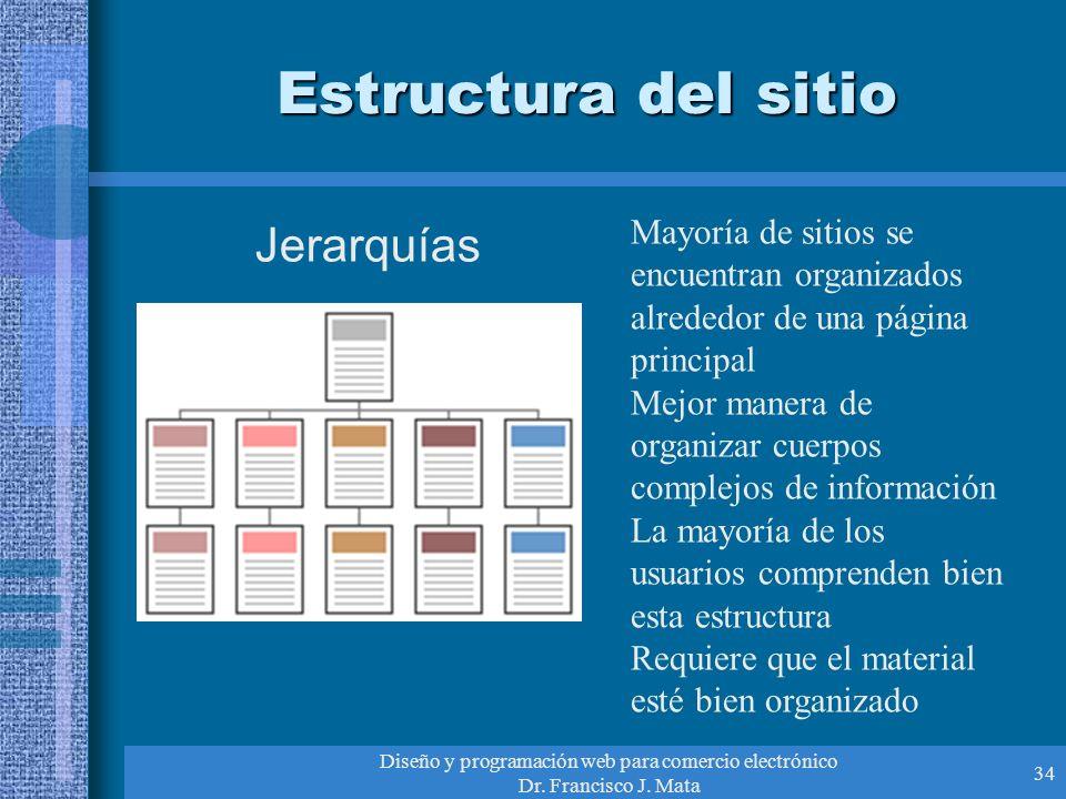 Diseño y programación web para comercio electrónico Dr. Francisco J. Mata 34 Estructura del sitio Jerarquías Mayoría de sitios se encuentran organizad