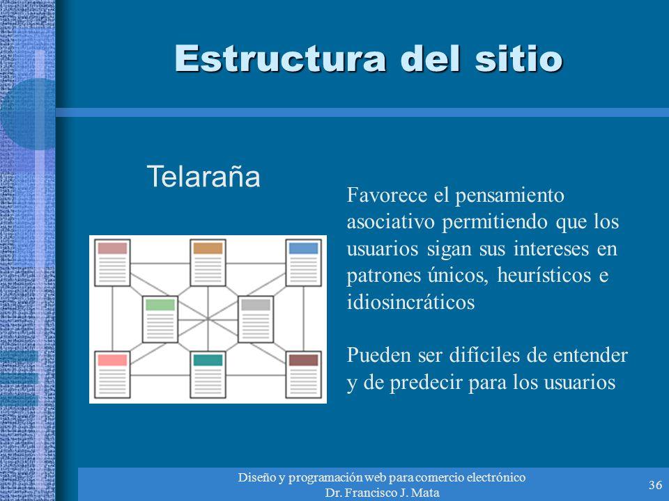 Diseño y programación web para comercio electrónico Dr. Francisco J. Mata 36 Estructura del sitio Telaraña Favorece el pensamiento asociativo permitie