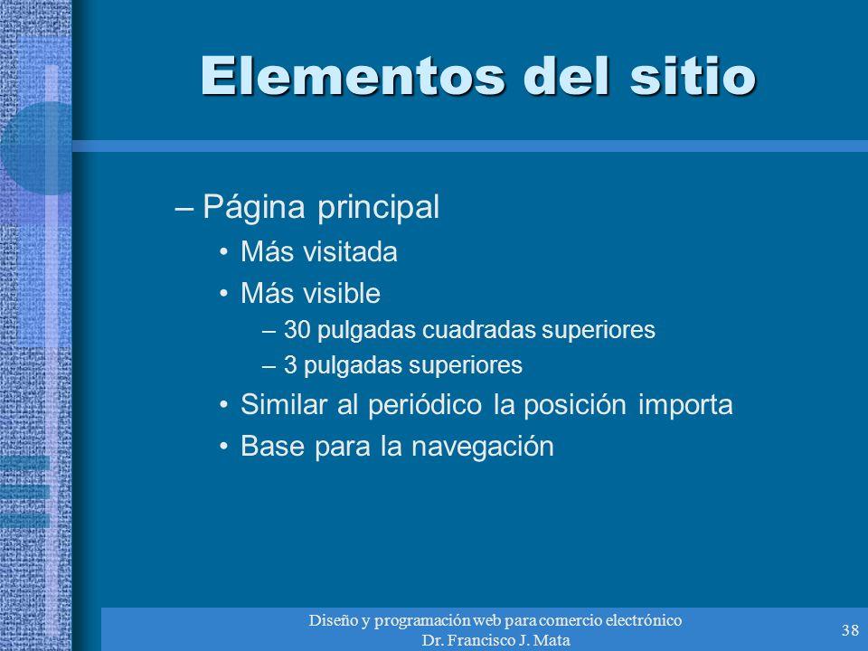 Diseño y programación web para comercio electrónico Dr. Francisco J. Mata 38 Elementos del sitio –Página principal Más visitada Más visible –30 pulgad