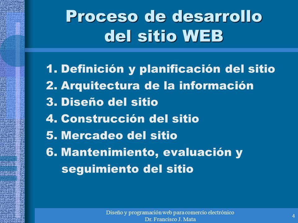 Diseño y programación web para comercio electrónico Dr. Francisco J. Mata 4 Proceso de desarrollo del sitio WEB 1.Definición y planificación del sitio