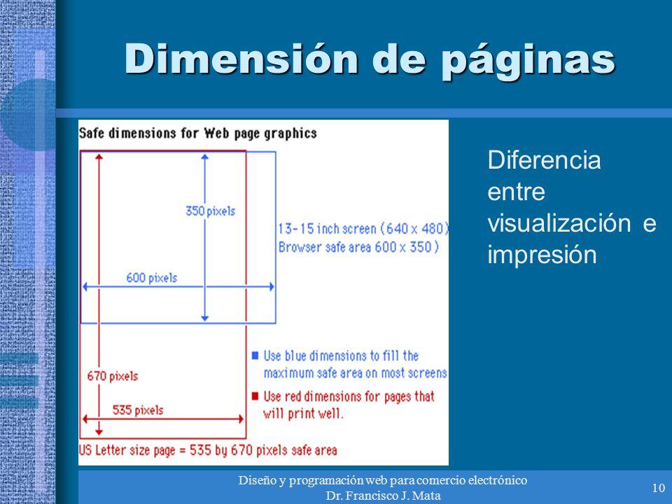 Diseño y programación web para comercio electrónico Dr. Francisco J. Mata 10 Dimensión de páginas Diferencia entre visualización e impresión