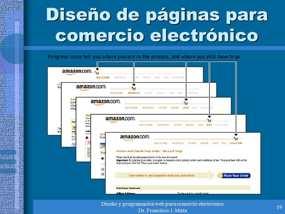 Diseño y programación web para comercio electrónico Dr. Francisco J. Mata 19 Diseño de páginas para comercio electrónico