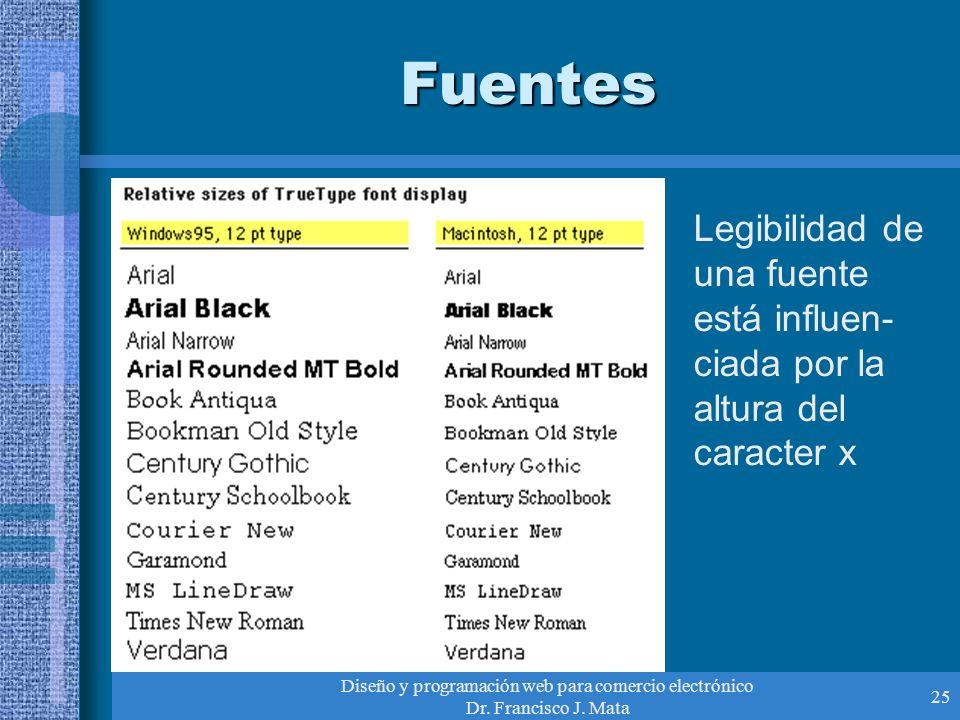 Diseño y programación web para comercio electrónico Dr. Francisco J. Mata 25 Fuentes Legibilidad de una fuente está influen- ciada por la altura del c