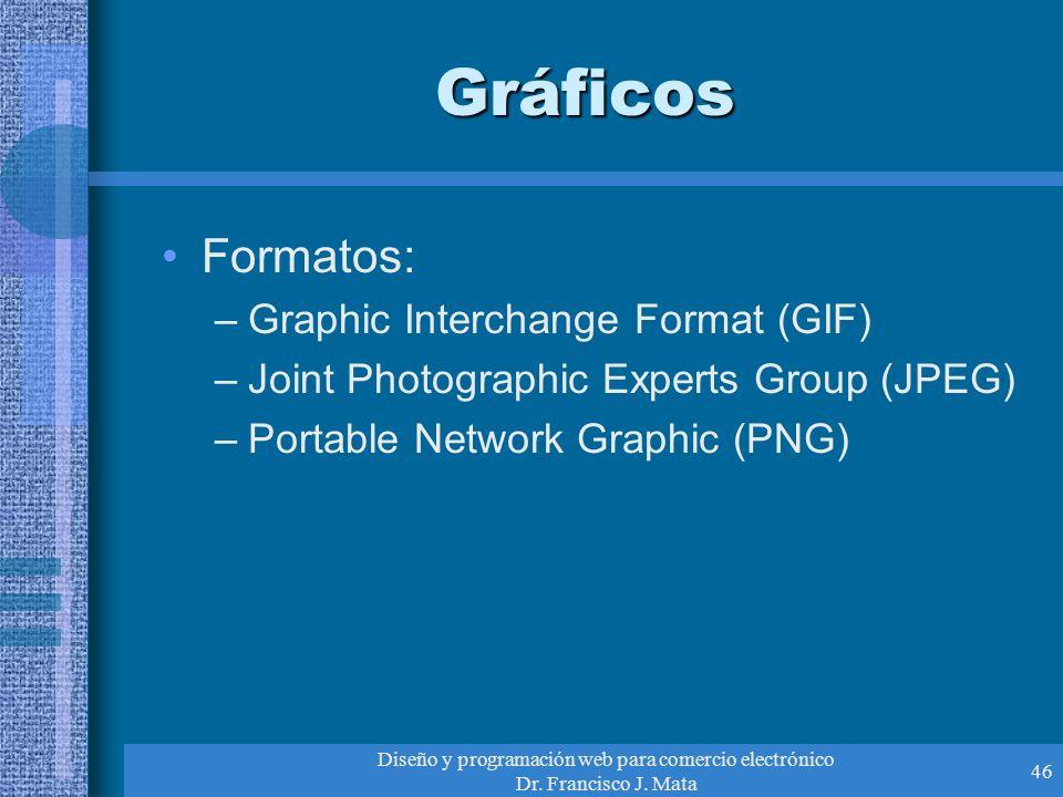 Diseño y programación web para comercio electrónico Dr. Francisco J. Mata 46 Gráficos Formatos: –Graphic Interchange Format (GIF) –Joint Photographic