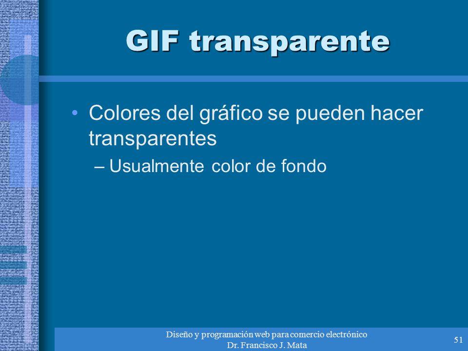 Diseño y programación web para comercio electrónico Dr. Francisco J. Mata 51 GIF transparente Colores del gráfico se pueden hacer transparentes –Usual