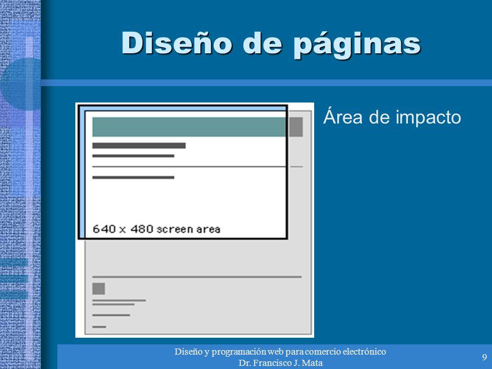 Diseño y programación web para comercio electrónico Dr. Francisco J. Mata 9 Diseño de páginas Área de impacto