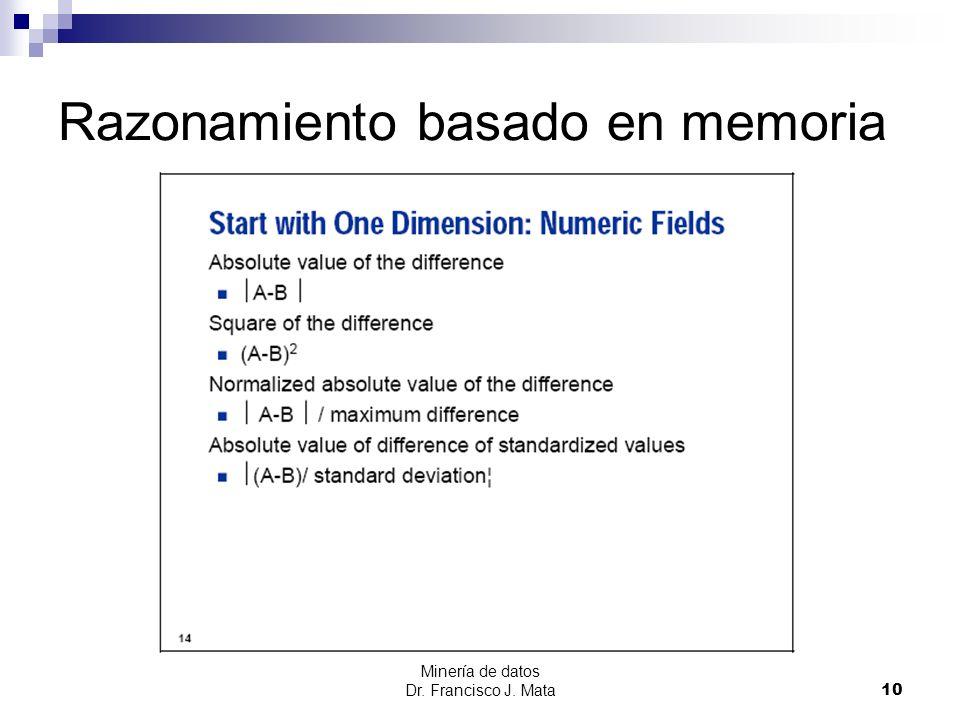 Minería de datos Dr. Francisco J. Mata 10 Razonamiento basado en memoria
