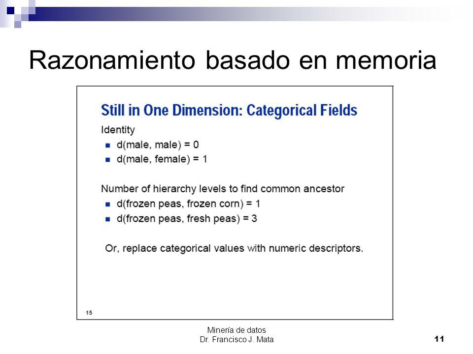 Minería de datos Dr. Francisco J. Mata 11 Razonamiento basado en memoria