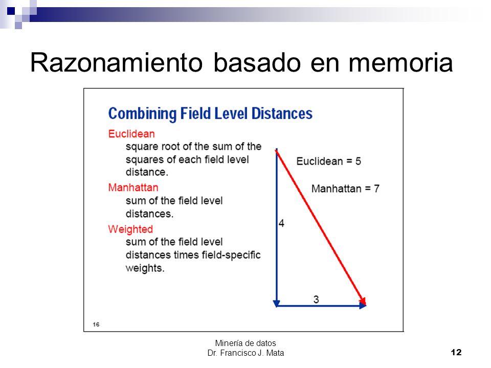 Minería de datos Dr. Francisco J. Mata 12 Razonamiento basado en memoria