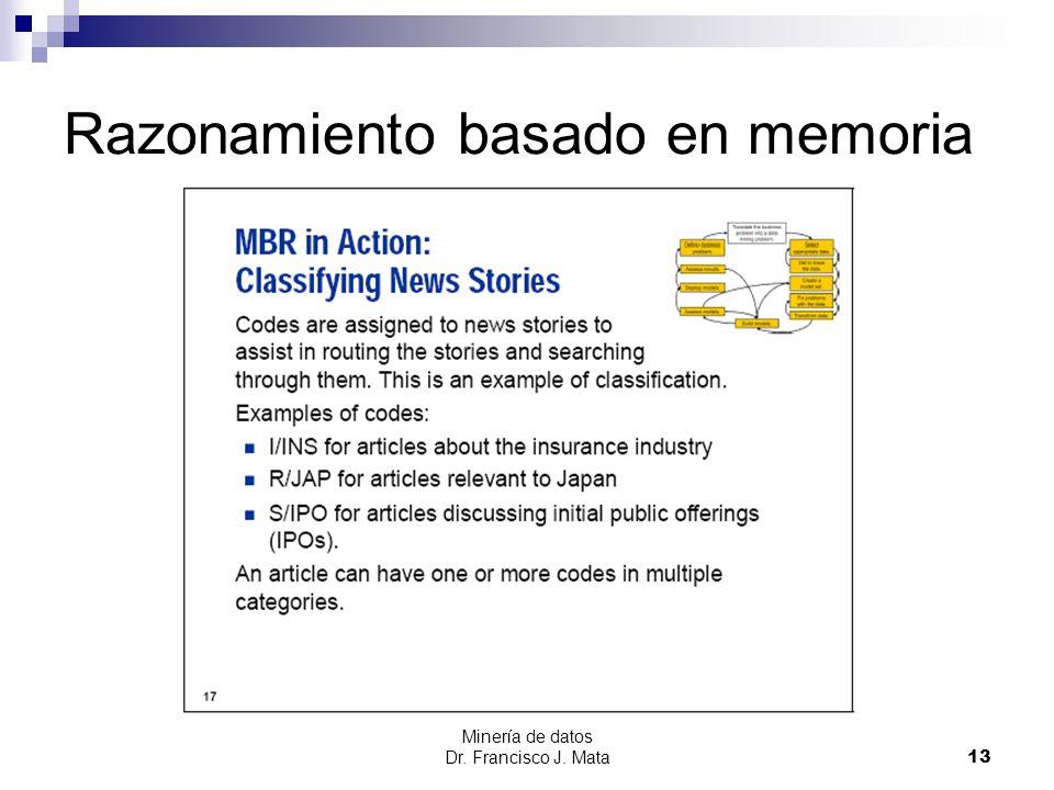 Minería de datos Dr. Francisco J. Mata 13 Razonamiento basado en memoria