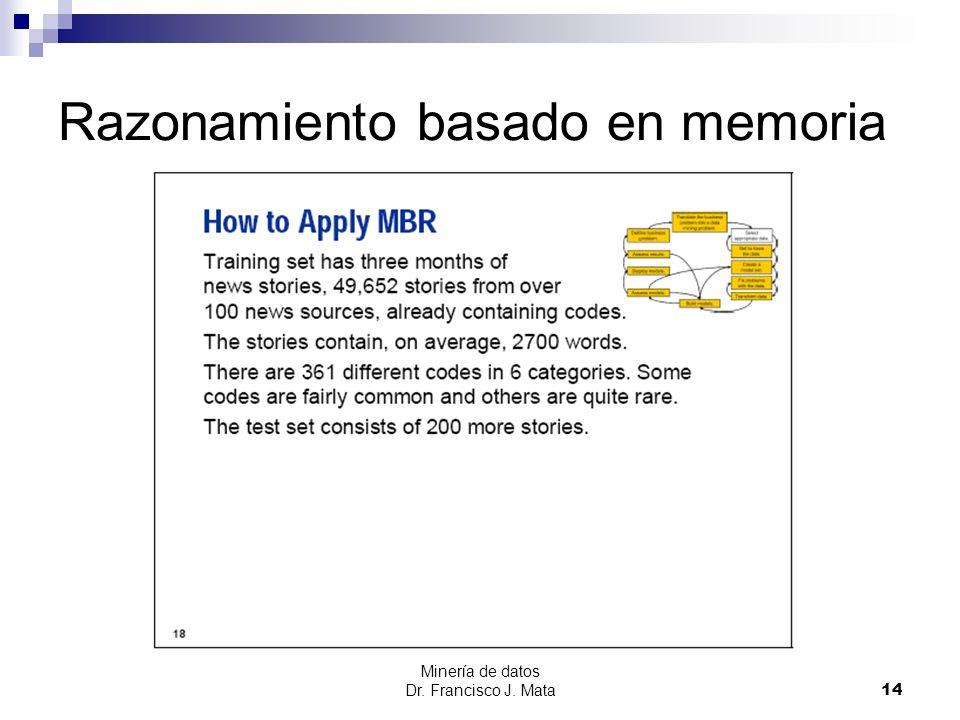 Minería de datos Dr. Francisco J. Mata 14 Razonamiento basado en memoria