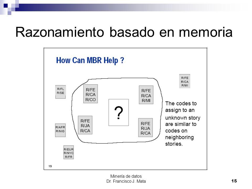 Minería de datos Dr. Francisco J. Mata 15 Razonamiento basado en memoria