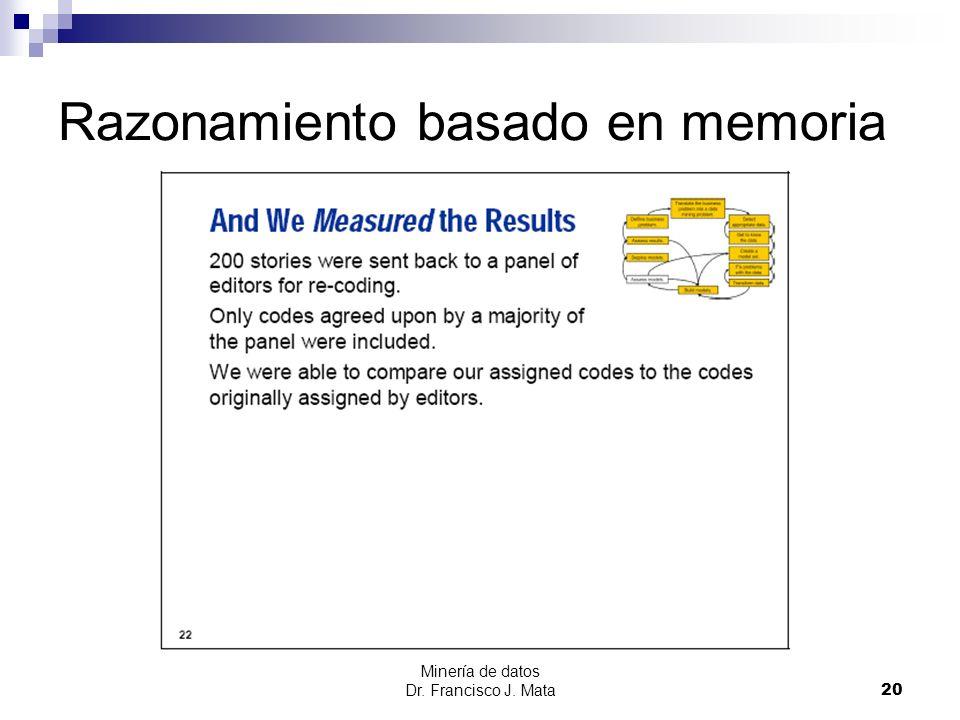 Minería de datos Dr. Francisco J. Mata 20 Razonamiento basado en memoria
