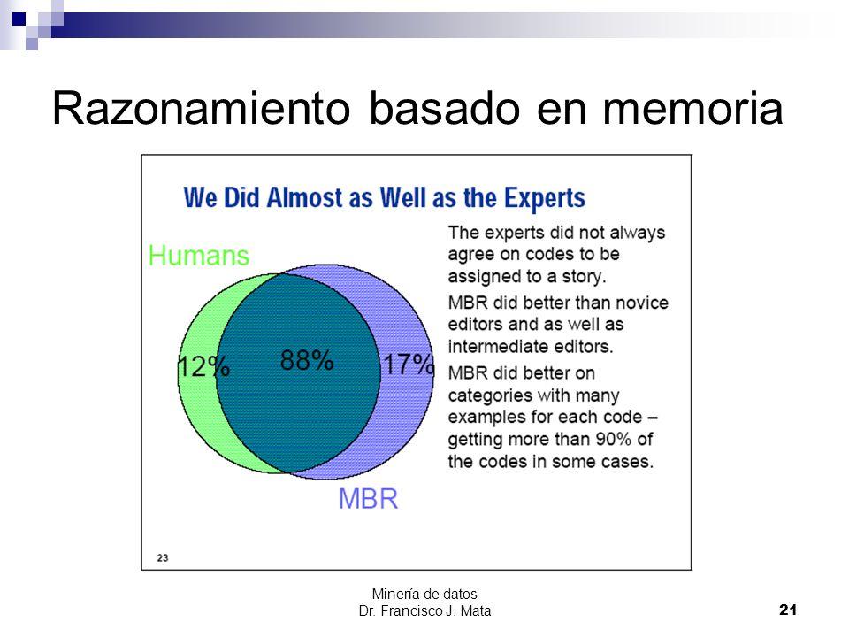 Minería de datos Dr. Francisco J. Mata 21 Razonamiento basado en memoria