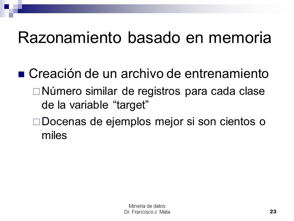 Minería de datos Dr. Francisco J. Mata 23 Razonamiento basado en memoria Creación de un archivo de entrenamiento Número similar de registros para cada