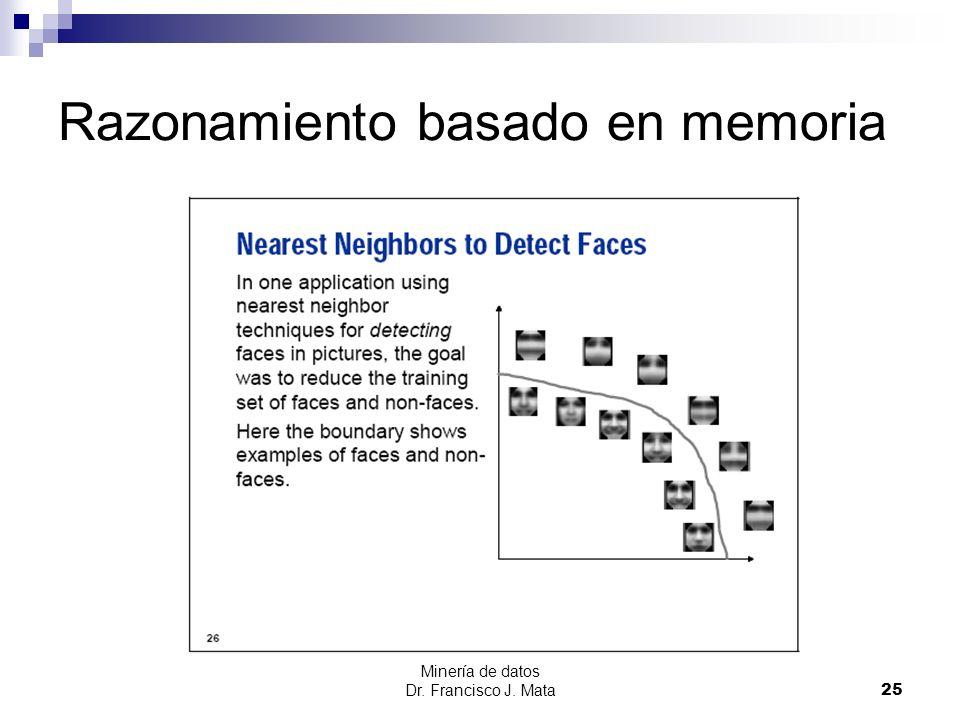 Minería de datos Dr. Francisco J. Mata 25 Razonamiento basado en memoria