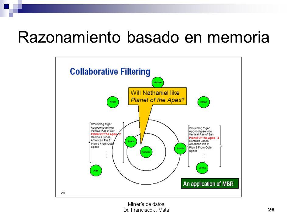 Minería de datos Dr. Francisco J. Mata 26 Razonamiento basado en memoria