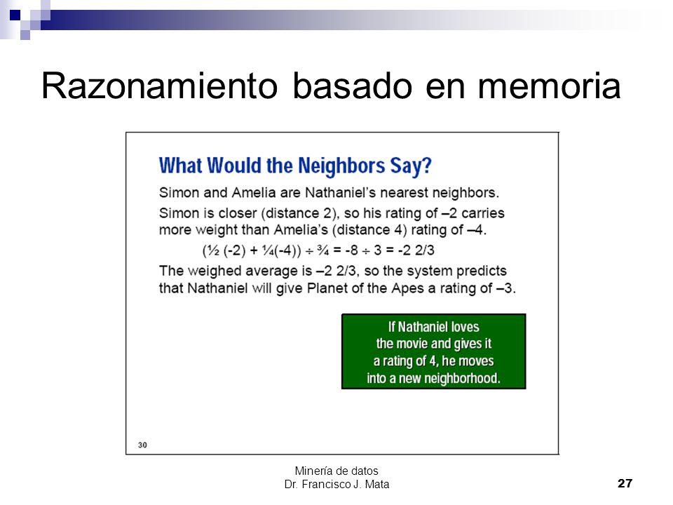 Minería de datos Dr. Francisco J. Mata 27 Razonamiento basado en memoria