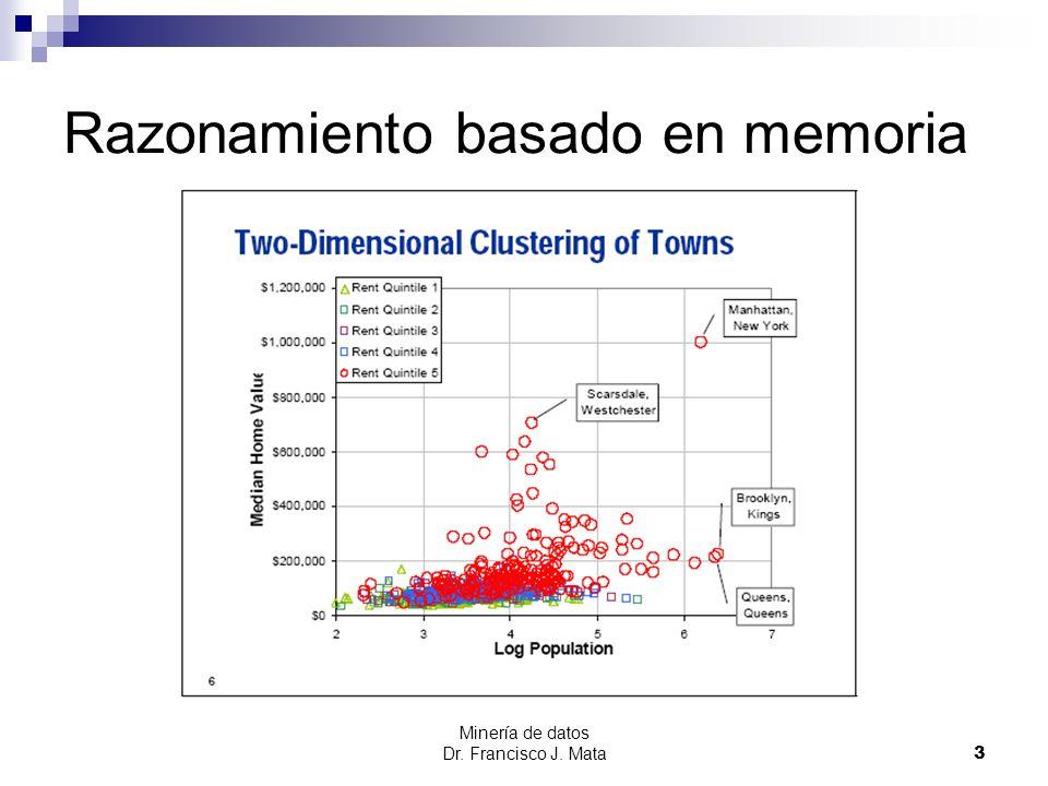Minería de datos Dr. Francisco J. Mata 3 Razonamiento basado en memoria