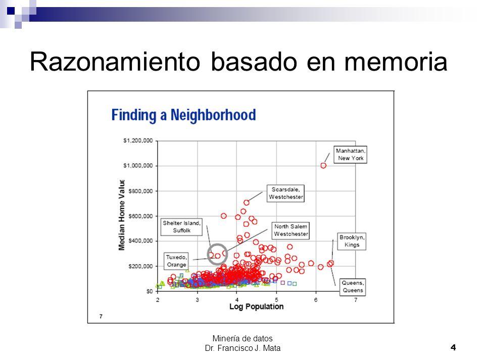 Minería de datos Dr. Francisco J. Mata 4 Razonamiento basado en memoria