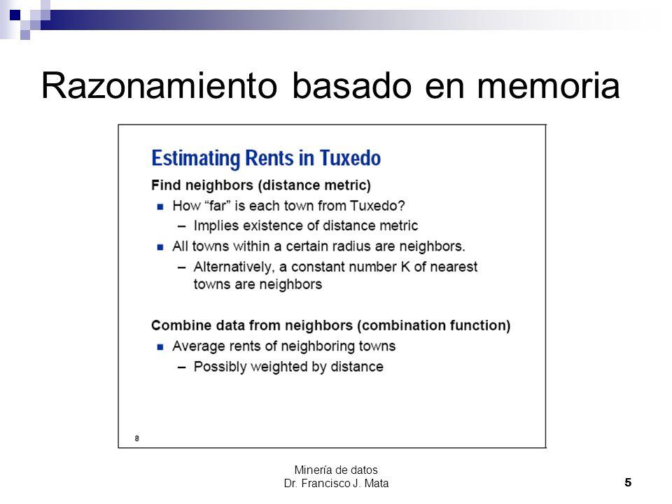 Minería de datos Dr. Francisco J. Mata 5 Razonamiento basado en memoria