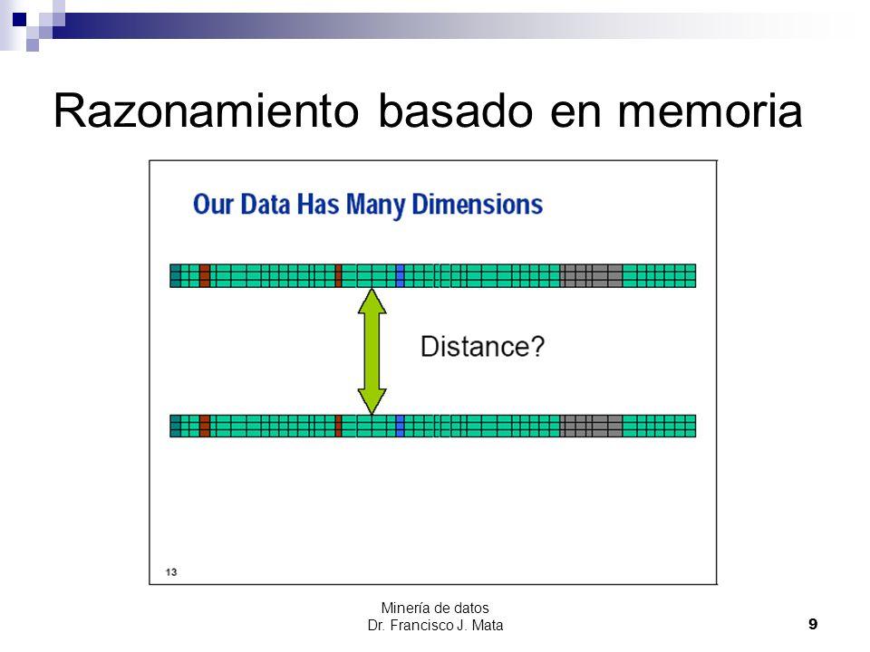 Minería de datos Dr. Francisco J. Mata 9 Razonamiento basado en memoria