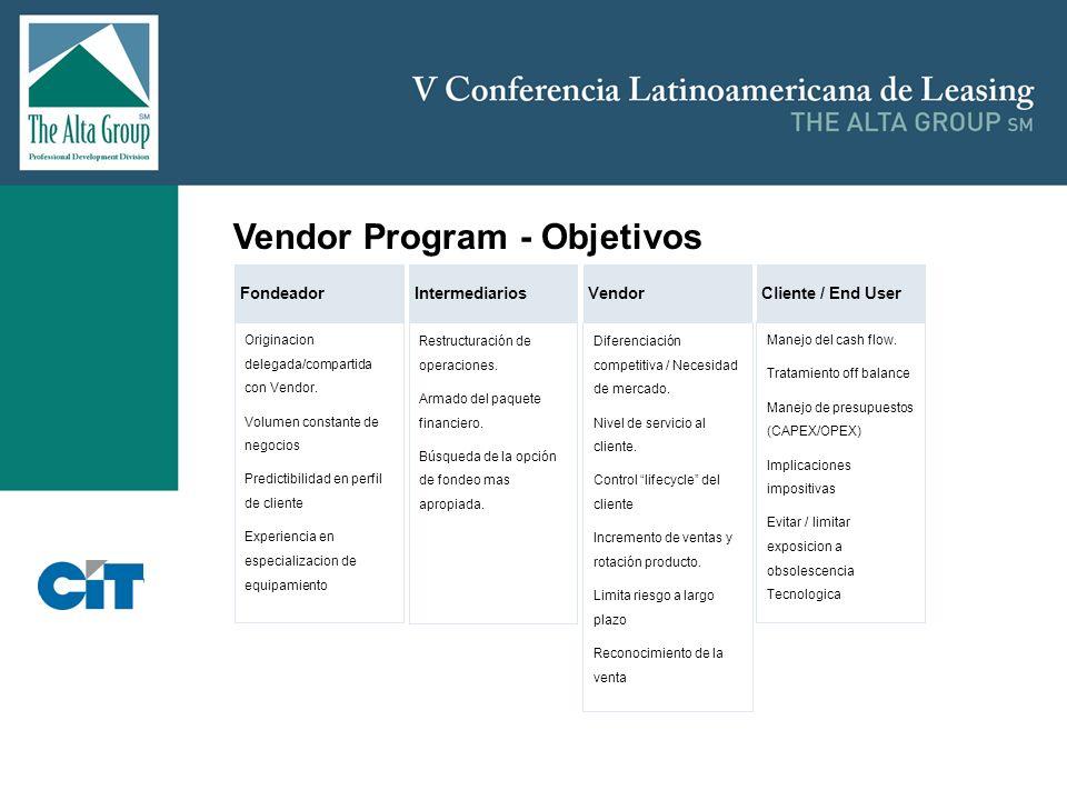 Insertar logo Vendor Program - Objetivos Originacion delegada/compartida con Vendor. Volumen constante de negocios Predictibilidad en perfil de client