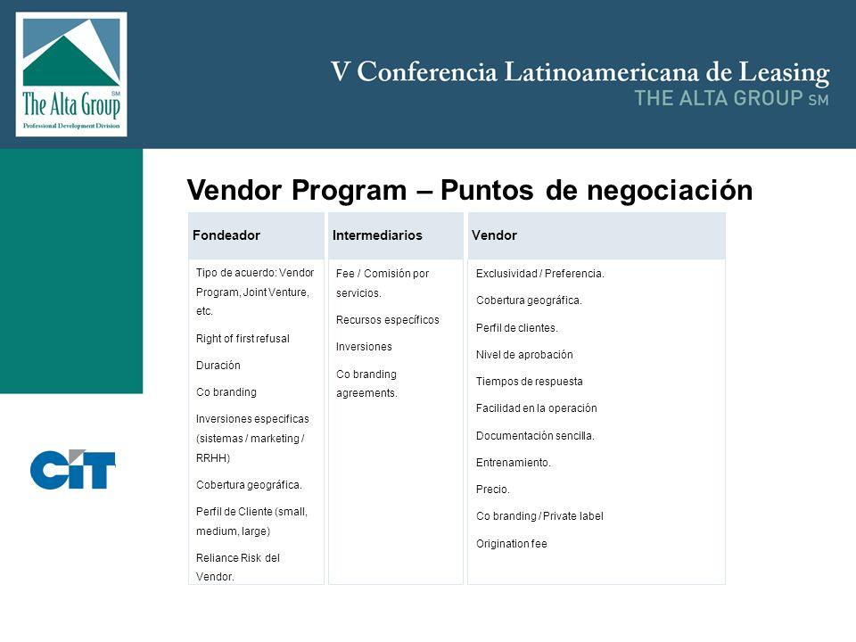 Insertar logo Vendor Program – Puntos de negociación Tipo de acuerdo: Vendor Program, Joint Venture, etc. Right of first refusal Duración Co branding
