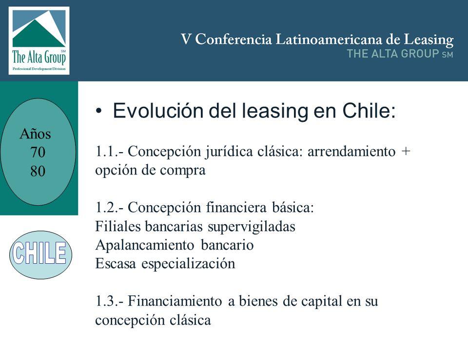 Insertar logo Años 70 80 Evolución del leasing en Chile: 1.1.- Concepción jurídica clásica: arrendamiento + opción de compra 1.2.- Concepción financie