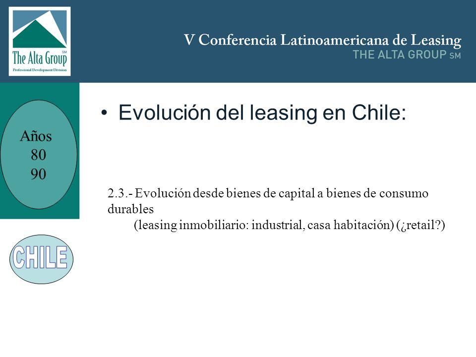 Insertar logo Evolución del leasing en Chile: Años 80 90 2.3.- Evolución desde bienes de capital a bienes de consumo durables (leasing inmobiliario: i