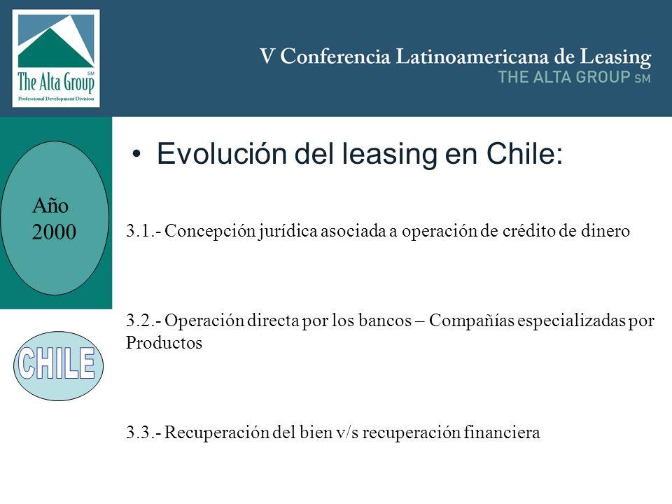 Insertar logo Evolución del leasing en Chile: Año 2000 3.1.- Concepción jurídica asociada a operación de crédito de dinero 3.2.- Operación directa por