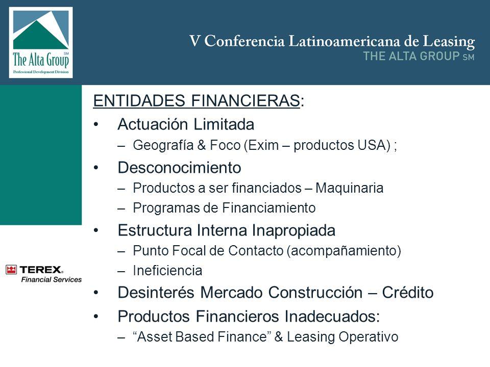 ENTIDADES FINANCIERAS: Actuación Limitada –Geografía & Foco (Exim – productos USA) ; Desconocimiento –Productos a ser financiados – Maquinaria –Programas de Financiamiento Estructura Interna Inapropiada –Punto Focal de Contacto (acompañamiento) –Ineficiencia Desinterés Mercado Construcción – Crédito Productos Financieros Inadecuados: –Asset Based Finance & Leasing Operativo