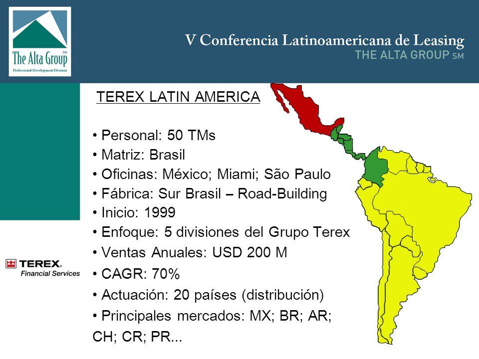 TEREX LATIN AMERICA Personal: 50 TMs Matriz: Brasil Oficinas: México; Miami; São Paulo Fábrica: Sur Brasil – Road-Building Inicio: 1999 Enfoque: 5 div