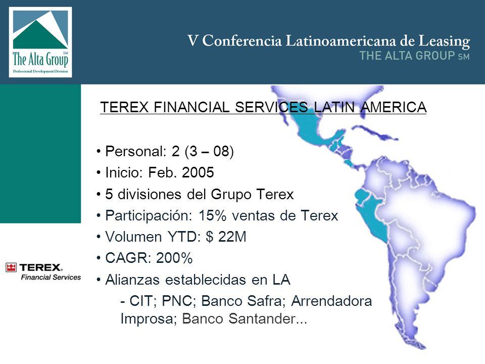 TEREX FINANCIAL SERVICES LATIN AMERICA Personal: 2 (3 – 08) Inicio: Feb. 2005 5 divisiones del Grupo Terex Participación: 15% ventas de Terex Volumen