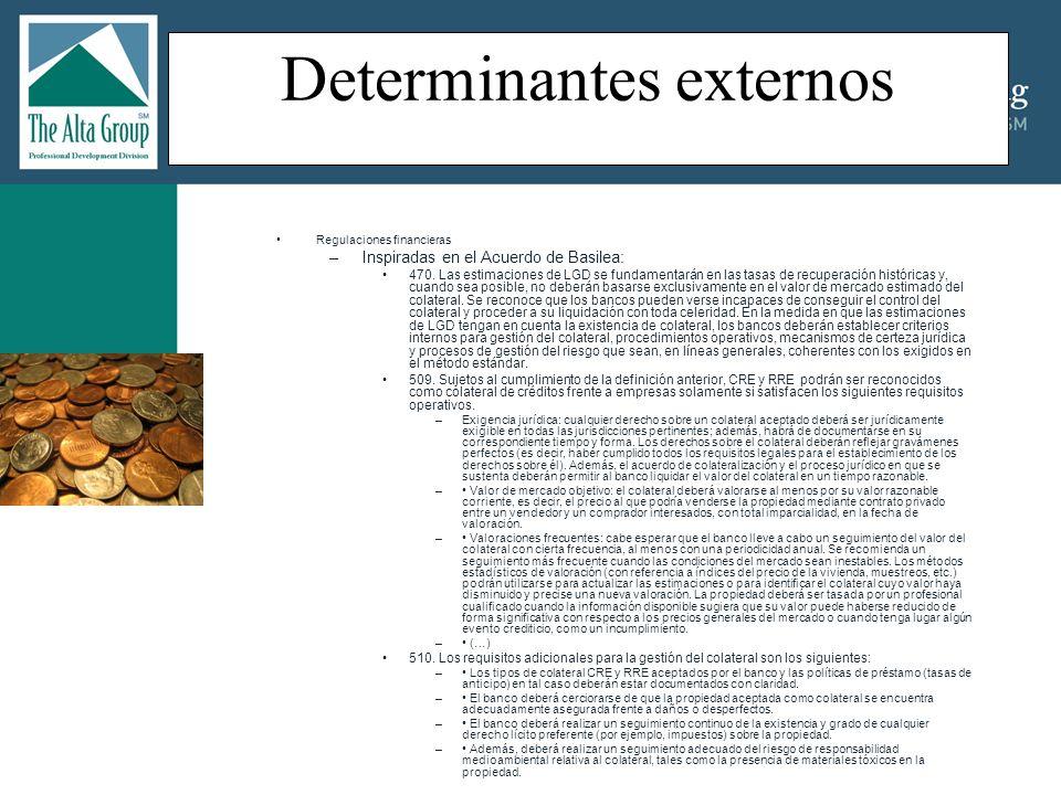 Determinantes externos (…cont) Regulaciones financieras –Inspiradas en el Acuerdo de Basilea: (continuación) 523.