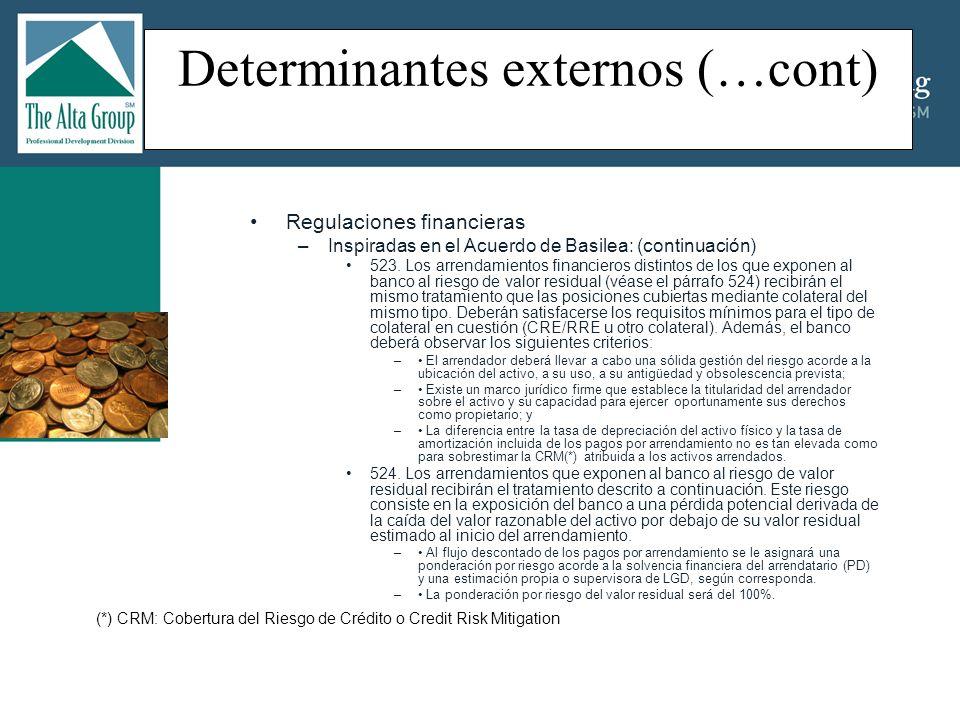 Determinantes externos (…cont) Regulaciones Contables –IAS (NIC) 16: Registros contables de Propiedades, Planta y Equipos: Expedida en 1993, fue revisada en 2003 y complementada por la IAS (NIC) 36; Define que los bienes que constituyen propiedades, planta, y equipos deben ser reconocidos como activos cuando se pueda comprobar que: [IAS 16.7] –Los beneficios económicos futuros asociados al activo van a fluir a la empresa; y –Que el costo del activo puede medirse confiablemente.