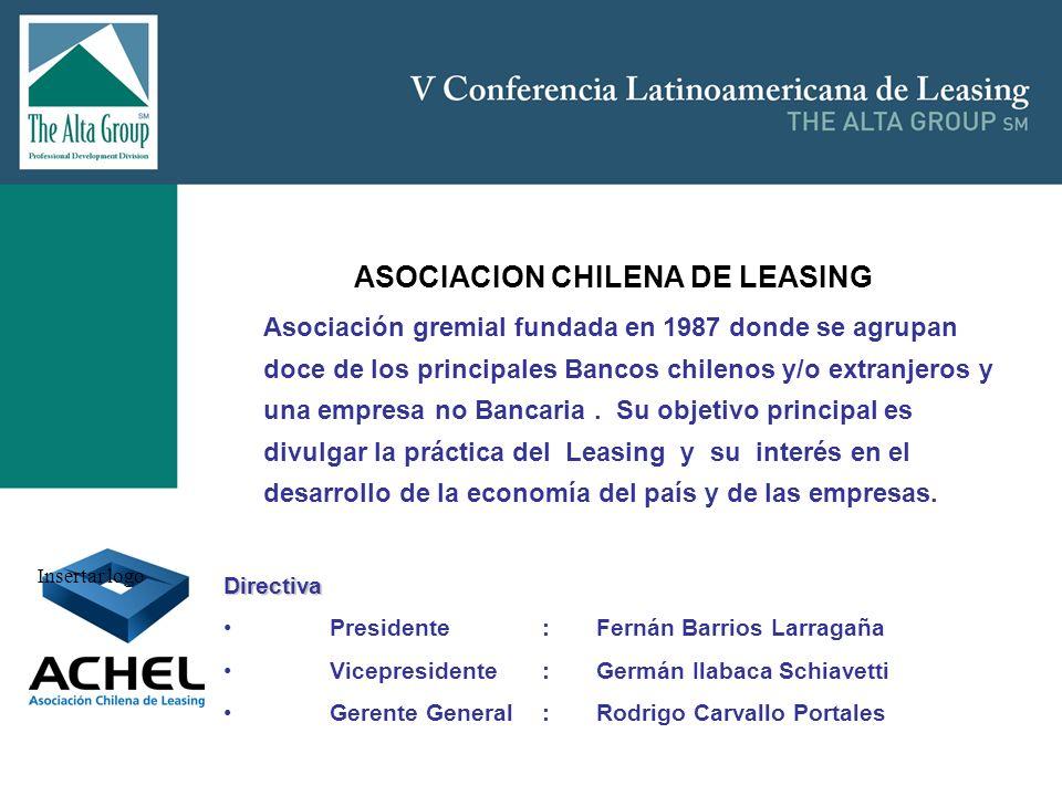 Insertar logo ASOCIACION CHILENA DE LEASING Asociación gremial fundada en 1987 donde se agrupan doce de los principales Bancos chilenos y/o extranjero