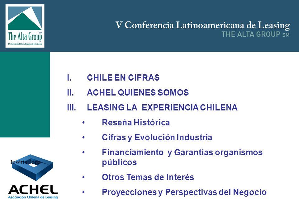 Insertar logo I.CHILE EN CIFRAS II.ACHEL QUIENES SOMOS III.LEASING LA EXPERIENCIA CHILENA Reseña Histórica Cifras y Evolución Industria Financiamiento
