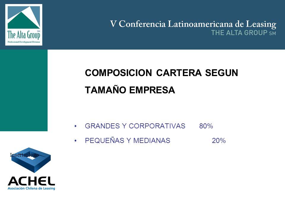 Insertar logo COMPOSICION CARTERA SEGUN TAMAÑO EMPRESA GRANDES Y CORPORATIVAS 80% PEQUEÑAS Y MEDIANAS 20%
