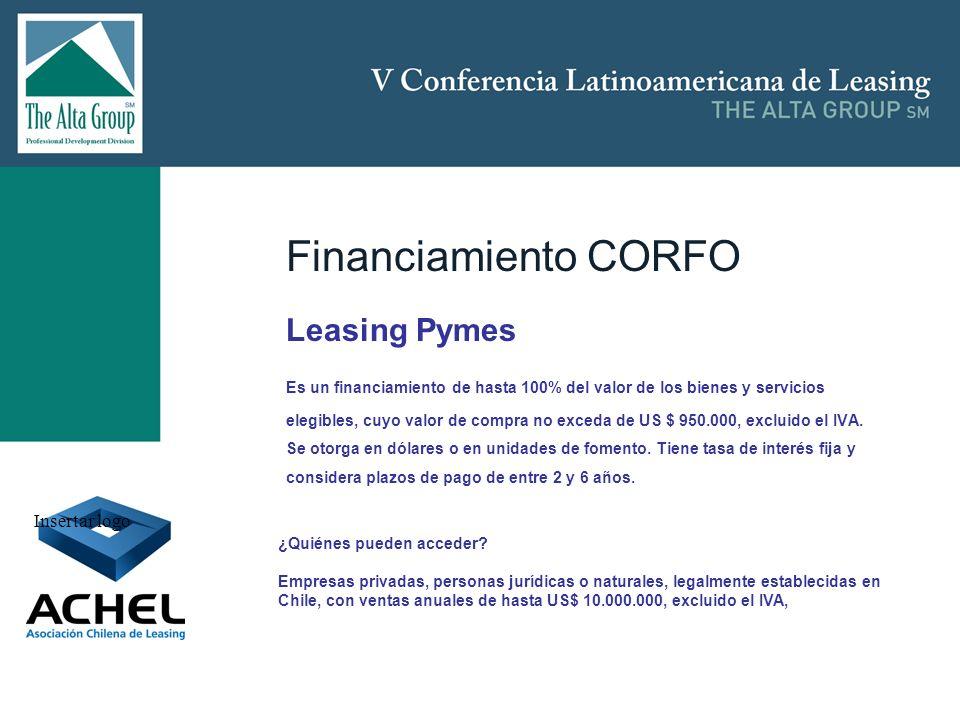 Insertar logo Financiamiento CORFO Leasing Pymes Es un financiamiento de hasta 100% del valor de los bienes y servicios elegibles, cuyo valor de compr