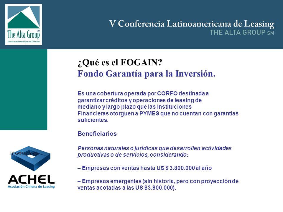 Insertar logo ¿Qué es el FOGAIN? Fondo Garantía para la Inversión. Es una cobertura operada por CORFO destinada a garantizar créditos y operaciones de