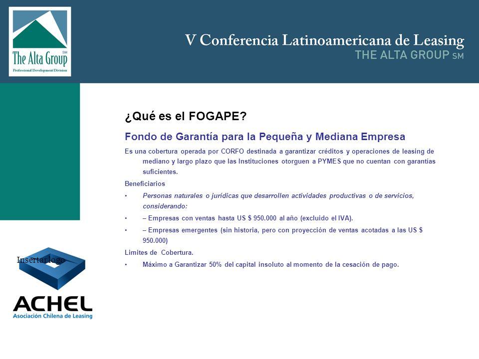 Insertar logo ¿Qué es el FOGAPE? Fondo de Garantía para la Pequeña y Mediana Empresa Es una cobertura operada por CORFO destinada a garantizar crédito