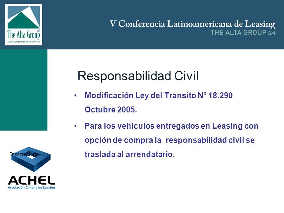 Insertar logo Responsabilidad Civil Modificación Ley del Transito Nº 18.290 Octubre 2005. Para los vehículos entregados en Leasing con opción de compr