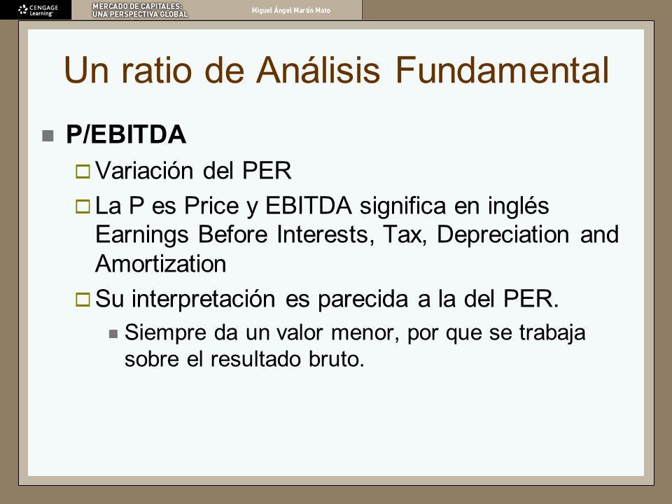 Un ratio de Análisis Fundamental P/EBITDA Variación del PER La P es Price y EBITDA significa en inglés Earnings Before Interests, Tax, Depreciation an